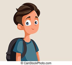 wektor, sprytny, szkoła, teen chłopiec, litera