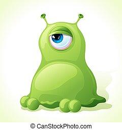 wektor, sprytny, zielony potwór, odizolowany, na białym,...