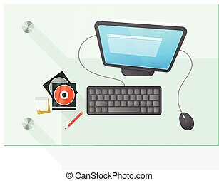 wektor, stół, komputer, nowoczesny, ilustracja