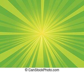 wektor, starburst, pękać, tło, promienie, zielony, ...