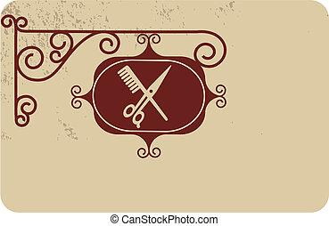 wektor, starożytny, fryzjer, szyld, ilustracja, ulica