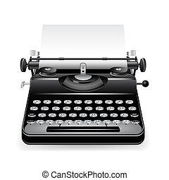 wektor, stary, maszyna do pisania