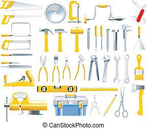 wektor, stolarz, narzędzia, ikona, komplet