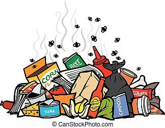 wektor, stos, odpadki, ilustracja