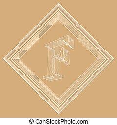 wektor, styl, pojęcie, lattice., abstrakcyjny, chrzcielnice, ilustracja, twórczy, polygonal, tło., oczko, projektować, litera, brochure., polygons., ruszt, polygonal., molekularny, nagłówek, f., strukturalny