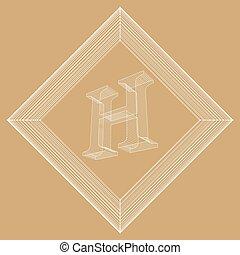 wektor, styl, pojęcie, lattice., abstrakcyjny, chrzcielnice, ilustracja, twórczy, polygonal, tło., oczko, projektować, litera, brochure., polygons., ruszt, polygonal., molekularny, nagłówek, h., strukturalny