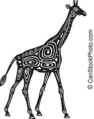 wektor, stylizowany, żyrafa, czarnoskóry, biały, ozdobny