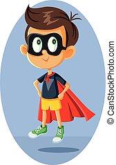 wektor, superhero, rysunek, chłopiec, ilustracja