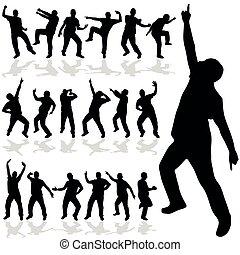 wektor, sylwetka, człowiek, taniec