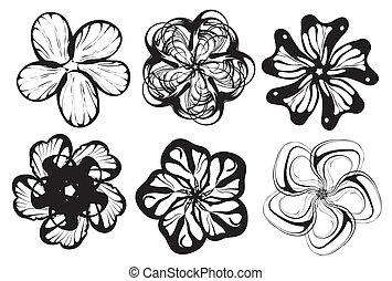 wektor, sylwetka, kwiat