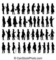 wektor, sylwetka, mężczyźni, suits., ilustracja