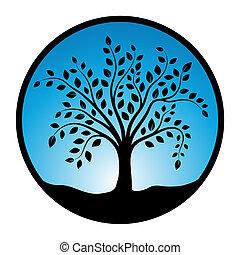 wektor, symbol, drzewo, ilustracja, tło, koło, biały
