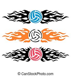 wektor, szablony, logo, volleyball piłka, prażący