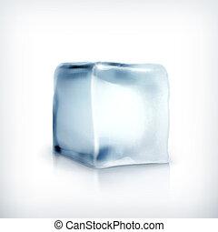 wektor, sześcian, lód