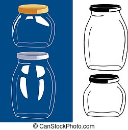 wektor, szkło, komplet, słój, butelka