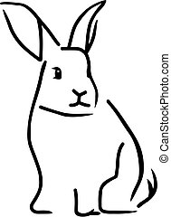 wektor, szkic, królik