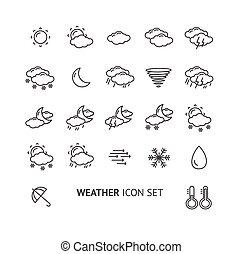wektor, szkic, pogoda, czarnoskóry, biały, ikona
