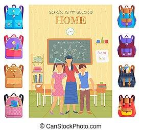 wektor, szkoła, klasa, uczniowie, nauczyciel