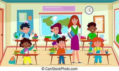 wektor, szkoła, pojęcie, grupa, nauczyciel, dzieciaki, uczeń, belfer, interior., lekcja, wykształcenie, uczeni, klasa, rysunek, classroom.
