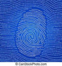 wektor, tło, abstrakcyjny, kodowane dane, odcisk palca