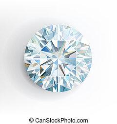 wektor, tło., biały, diament, odizolowany