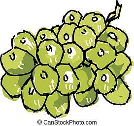 wektor, tło., ilustracja, winogrona, biały