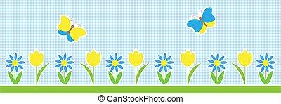 wektor, tło, kwiaty, motyle, poziomy