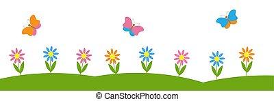 wektor, tło, kwiaty, poziomy, motyle