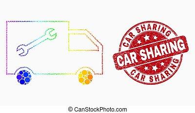wektor, tłoczyć, wóz, jasny, awangarda, służba, ikona, pixel, strapienie, dzielenie