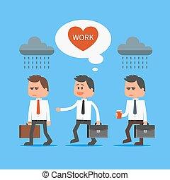 wektor, tłum., jego, biuro, wystający, praca, pracownik, ilustracja, pojęcie, płaski, kocha, rysunek, design.