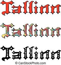 wektor, tallinn, odręczny, napis