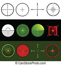 wektor, tarcza, crosshairs
