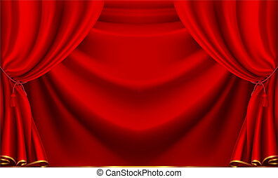 wektor, teatr, czerwona firanka