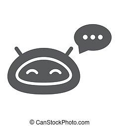 wektor, technologia, eps, chatbot, tło, biały, ikona, ...