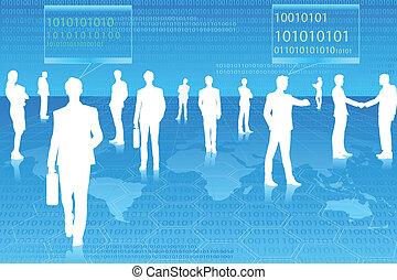 wektor, technologia, ludzie