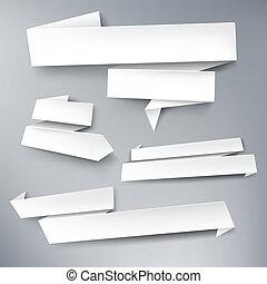 wektor, tekst, chorągwie, papier, biały, twój