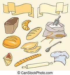 wektor, temat, komplet, bread
