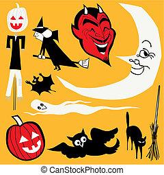 wektor, temat, komplet, halloween, illustrations.