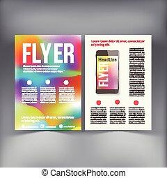 wektor, template., broszura, abstrakcyjny, lotnik, projektować