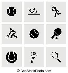 wektor, tenis, komplet, ikona