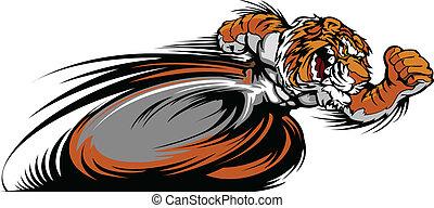 wektor, tiger, maskotka, graficzny, biegi