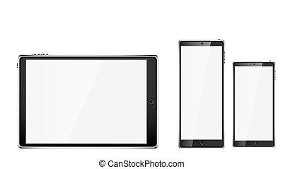 wektor, touchscreen, smartphone, głoski, tabliczka, przestrzeń, ruchomy, realistyczny, ekran, dwa, ilustracja, odizolowany, tło., komputer, czarnoskóry, połyskujący, czysty, biały, kopia, mądry