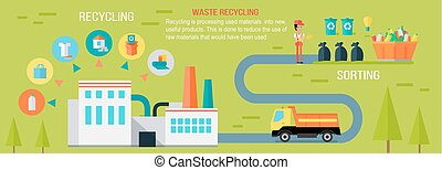wektor, tracić, concept., recycling, infographic