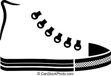 wektor, trzewik, brezentowy bucik, czarnoskóry, ikona