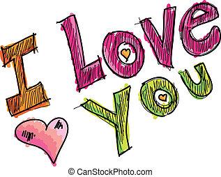 wektor, ty, miłość, ilustracja