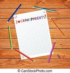 wektor, tytuł, dzieciaki, miłość, barwny, dziadkowie, ręka, notatnik, pociągnięty, listek