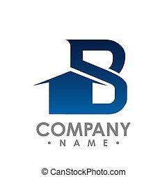 wektor, tytuł, pojęcie, początkowy, idea., b, projektować, litera, nieruchomość, logo, design.