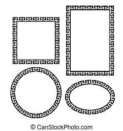 wektor, ułożyć, grek, set., okrągły, skwer, brzeg, klucz