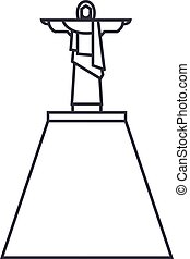 wektor, uderzenia, editable, ilustracja, jezus, znak, tło, statua, ikona, kreska