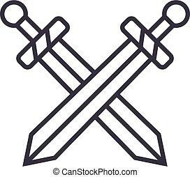 wektor, uderzenia, editable, miecze, ilustracja, znak, tło, ikona, kreska